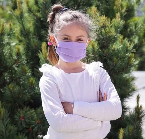 Kinderschutzmaske Flieder Baumwolle