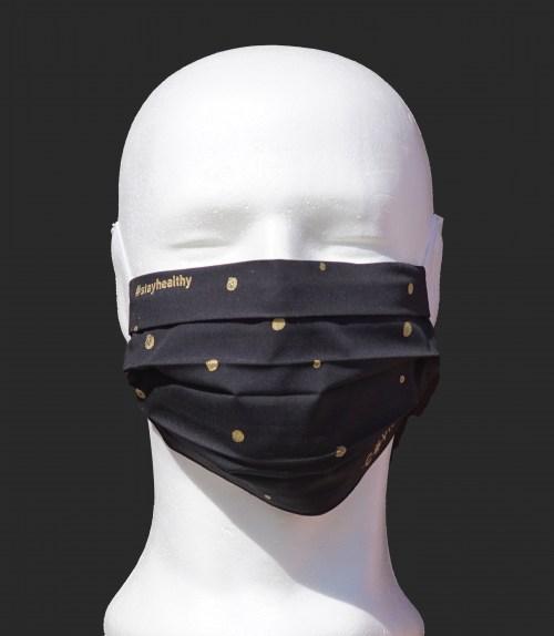 Schutzmaske Schwarz Dots Front